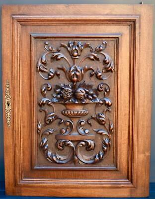 Antique French Hand Carved Solid Wood Cupboard Door Wall Panel With Scrolls