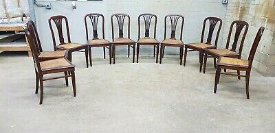 Louis XVI rare set of 10  French solid mahogany dining chairs with cane seat