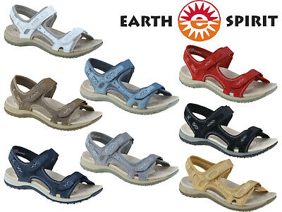 Ladies Sandals Earth Spirit Comfort Walking Summer Leather Touch Fastening Shoes