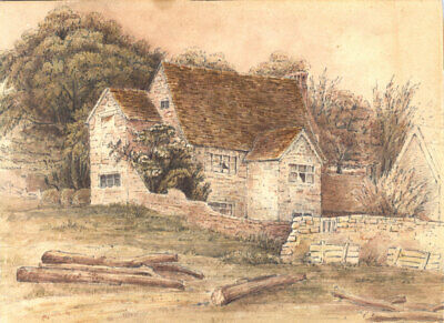 Early 20th Century Watercolour - Cottage View