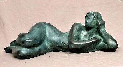 Cold cast bronze sculpture in modern style, lying woman with green patina
