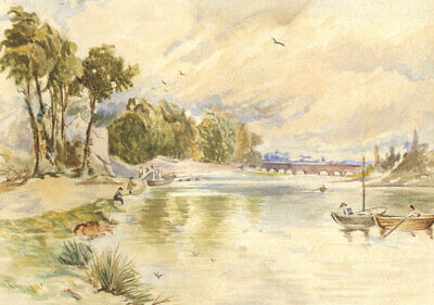 Early 20th Century Watercolour - River Fishing