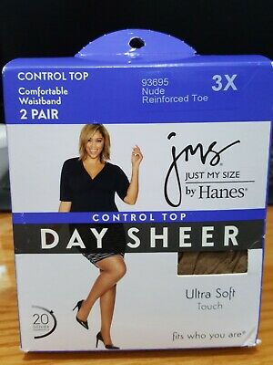 e7ed4cc739f JMS Just My Size by Hanes Pantyhose Control Top 3X Nude 2 Pair Day Sheer