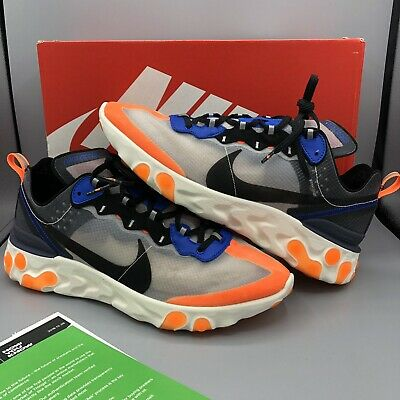 cheap for discount bbfe6 c2ee8 Nike React Element 87 Thunder Blue Total Orange Black AQ1090-004 Size 10 Max