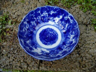 Antique Japanese porcelain bowl - 19th century blue and white hand painted