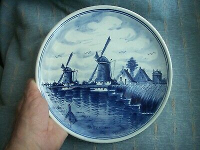 Old Vintage Dutch Delft Pottery Hand Painted Plate Plaque Windmill Scene Holland