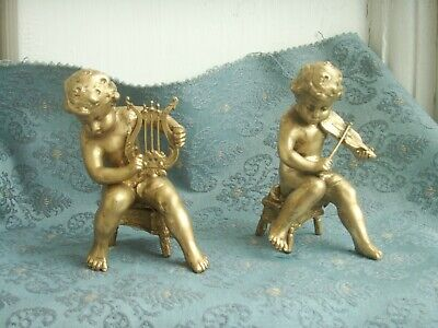 Old Antique French Gold Spelter Musical Boy Cherub Figures c.1905 Violin Lute