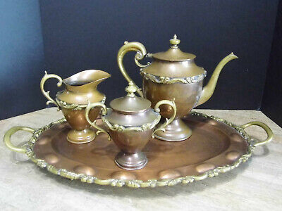 Vintage Copper Brass Accents Teapot Creamer Sugar Bowl and FootedTray