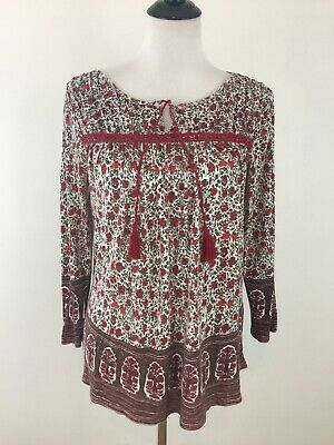 691af63da86 Lucky Brand Tunic Top Blouse Size Large Red Floral 3 4 Sleeve Tassels Boho