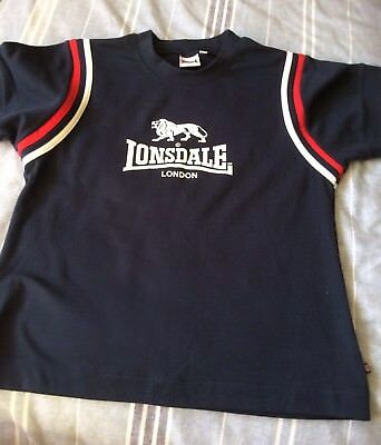 NAVY BLUE & RED LONSDALE T SHiRT