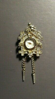 Vintage Lgp Stainless Steel Back Cuckoo Clock With Bird Brooch!   Cc749Xcx