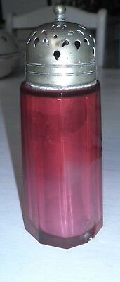 Vintage Antique Cranberry Glass sugar sifter silver plate lid Peaky Blinders era