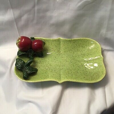 Vintage Ceramic Snack Serving Plate Mid Century Retro Candy Dish Lime Green