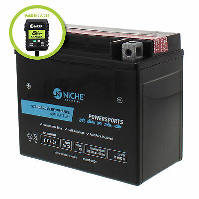 NICHE AGM Battery w/charger for YTX12-BS fits Honda ATC125M, ATC250SX
