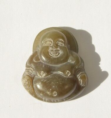 Antique Vintage Natural Genuine Green Jadeite Jade Hand Carved Buddha Pendant