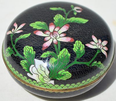 Antique Old Chinese Asian Oriental Cloisonne Enamel Trinket Box with Flowers