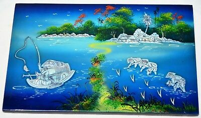 Vintage Chinese Mother Of Pearl Lacquer Lake Bamboo Fishing Boat Farming Scene