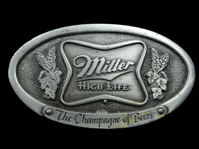 Sa05132 Vintage 1975 *Miller High Life The Champagne Beers* Advertisement Buckle