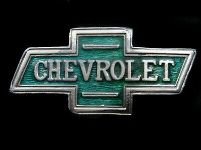 SA05104 VINTAGE 1970s **CHEVROLET** BOWTIE LOGO ADVERTISEMENT BELT BUCKLE