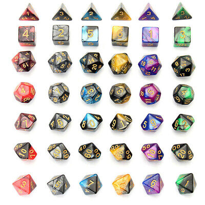 7pcs/set Multi-color Acrylic Polyhedral Dice For DND RPG MTG Role Table Games