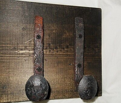 "2 Sealed Antique Hooks Old Railroad Spike Art ""Black Ebony"" Vintage Coat Rack"