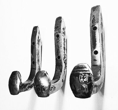 3 Brushed Steel Antique Coat Hooks Old Railroad Spikes Heavy Duty Shop Hanger