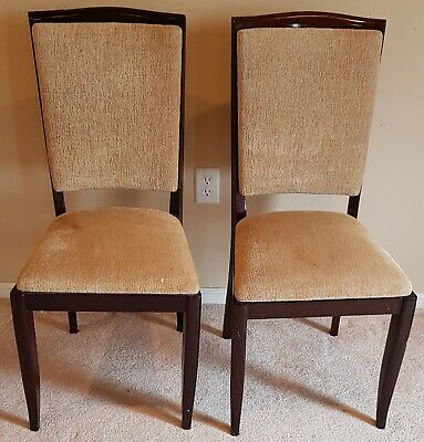 Pair of 1940's  French solid oak dining chair with back and seat fabric