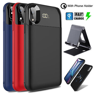 For iPhone XR/XS Max/XS/X Qi Wireless Battery Case Power Bank With Phone Holder