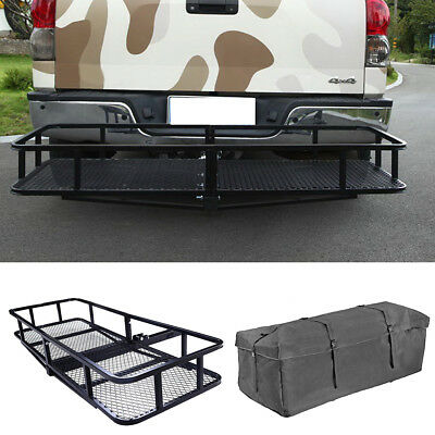 500lbs Hitch Mounted Folding Steel Cargo Carrier Luggage Basket + Bag Combo