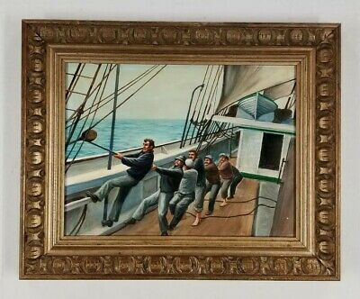Edward Ries (b.1939) California Vintage Deck Crew Boat Woarkers Oil Painting