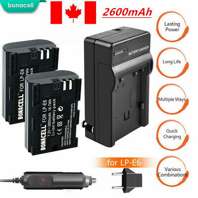 2x LP-E6 LPE6 Battery +Charger For Canon EOS 5DS 5D Mark II Mark III 6D 7D 2.6Ah