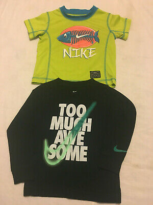Baby Boys 2 Piece Lot Black Green 3T Toddler Nike Short & Long Sleeve Tee Shirts