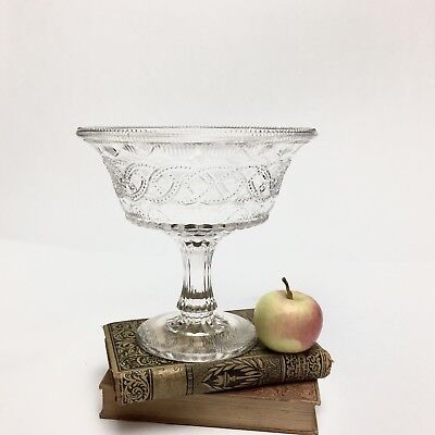 "Vintage Collectible Pressed Glass Footed Compote Dish 8"" Tall"
