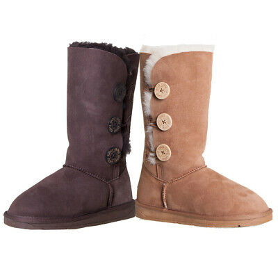Ugg Boots Sheepskin Tall Triple Button Pull On Casual Ladies Men Size EU 35-44