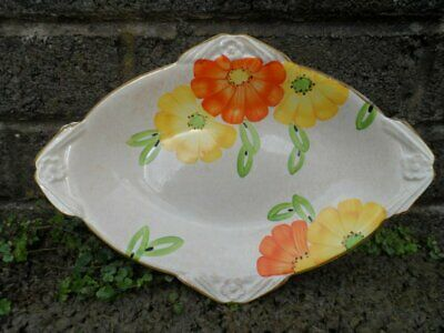 Art Deco Burleigh ware diamond shaped plate - vintage hand painted flowers