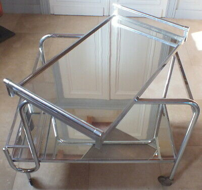 Jacques Adnet table roulante miroir chrome plateau amovible