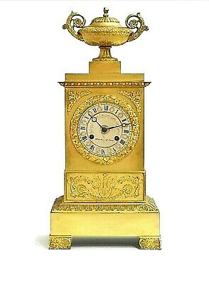 French 19th C Gilt Ormolu Mantel Clock Charles Paris