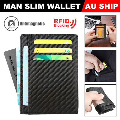 Slim Wallet Card Holder Case Pocket Mens Credit ID Leather Purse RFID Block AU