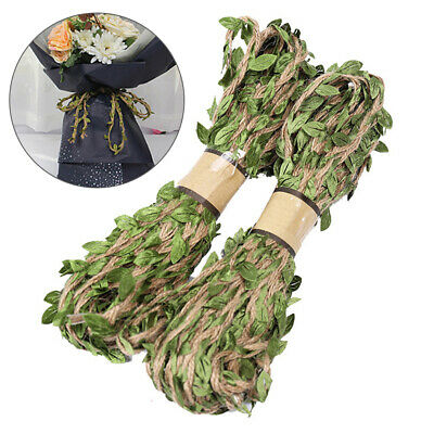 1 Roll 10m Leaf Natural Hessian Jute Twine Rope Burlap Ribbon DIY Craft Decor