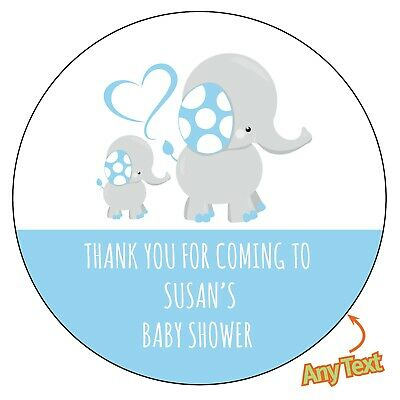 48 x Personalised Baby BLUE Shower Mommy Elephant Stickers labels  Party bag 830