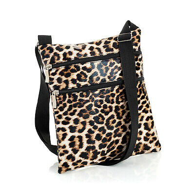 Ladies Womens Girls Brown Leopard Print Small Messenger Bag Brand New