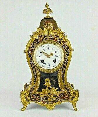 French 19th C Deep Red Boulle Gilt Brass Mantel Clock