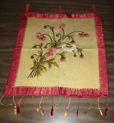 Colorful Victorian Hand Embroidered Wall Hanging Bouquet of Flowers Feather Stit
