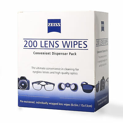 ZEISS Lens Cleaning 200 Wipes Eye Glasses Computer Optical Camera Lense Cleaner