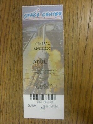 11/09/2006 Ticket: Space Center Houston - General Admission (folded). Footy Prog