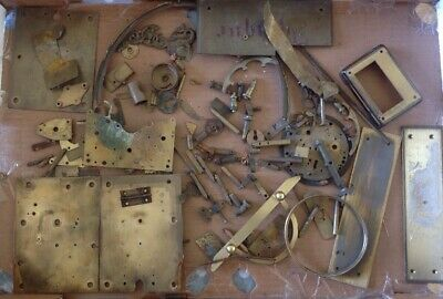 Antique Clock Makers Brass Scrap Box Contents Approx 3.5kg All Brass Parts