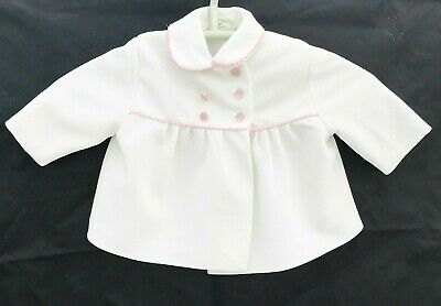 Vintage Baby Clothes Coat White With Pink Braid Matinee Jacket Age 0- 6 Months