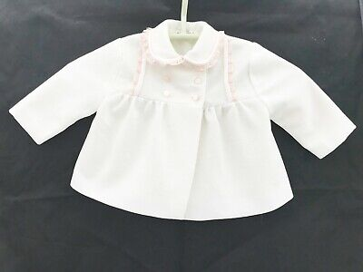 Vintage Baby Clothes Coat White With Peach Braid Matinee Jacket Age 0- 6 Months