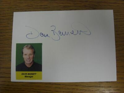 1994/1995 Autographed White Card: Sheffield United - Bassett, Dave  (picture lai