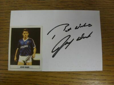 1989/1990 Autographed White Card: Ipswich Town - Wark, John  (Sticker laid down
